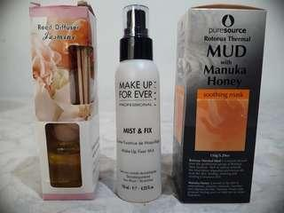 Make up fixer mist and soothing mask.