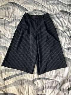 [女裝]Uniqlo 垂墜風 條紋闊腿褲 寬闊 黑白 S GU