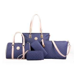 Set 5 in 1 Handbag Tote Shoulder Bag Sling Beg Purse