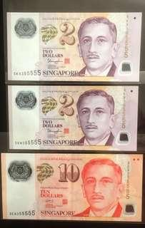 💥Identical 355555💥 3 Pieces Polymer Notes Bundle, All with Identical Almost Solid '5's Serial Numbers 👊