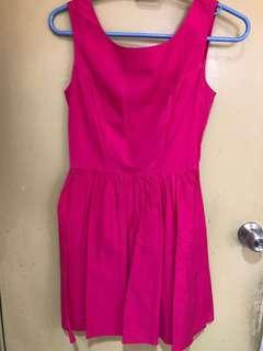 Topshop ribbon back pink dress