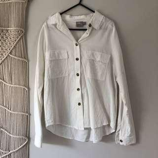 Casual White Shirt with Tortoise Shell buttons.
