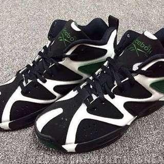 (8成)REEBOK KAMIKAZE I  黑綠球鞋/一代 西雅圖超音速