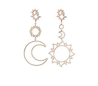 Sun and moon bohemian earrings