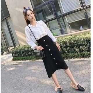 Midi Skirt / Knitted Skirt / Ribbed Skirt / Button Down Skirt / Button Skirt