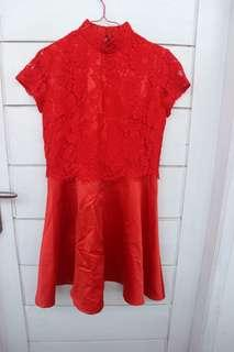 Dress Brokat Merah