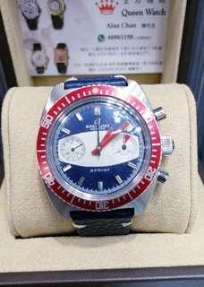 Breitling 红圈藍面古董錶 上鍊計時 膠面 淨錶