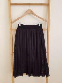 Black mesh midi skirt