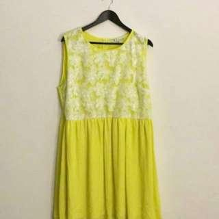 (Retails $100+) Yellow Dress with Lace Flowers