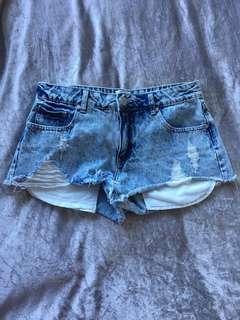 White wash ripped denim shorts
