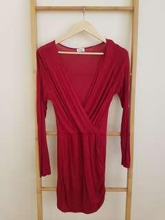 Red tobi long sleeve dress