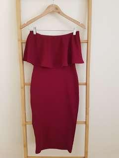 Burgundy Bandeau bodycon dress
