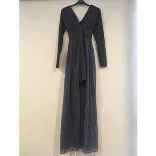 NEW WITH TAGS Kookai Overlay Skirt Grey Maxi Dress 1