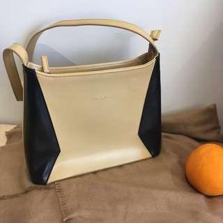 Vintage fraiche handbag - cream yellow and black
