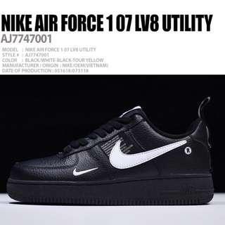 🚚 保證正品✨ nike Air Force 1 07 LV8 Utility AF1 皮革 休閒鞋 運動鞋 板鞋 男鞋 黑