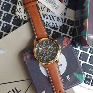 7be934da0 Fossil Grant Black Dial Brown Leather Men's Watch - FS5062