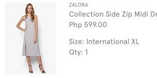 Zalora Light Ash Pink Side Zip Midi Dress