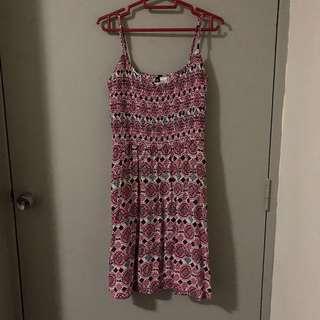 H&M Red & White Aztec Spaghetti Strap Dress