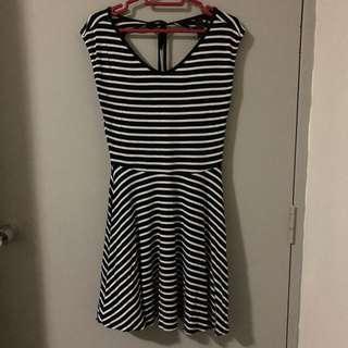 Factorie Black & White Striped Dress