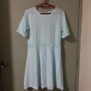 BN Light Blue & White Striped Dress
