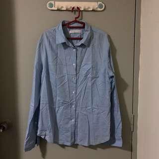 Giordano Light Blue Long Sleeves Work Shirt