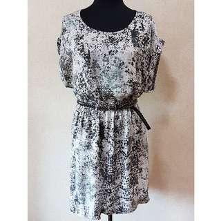 Mango Marble Print Dress with Belt