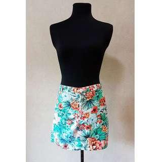 Tropical Print Mini Skirt