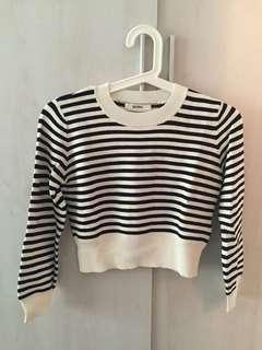 🚚 日本Snidel黑白條紋短板針織上衣