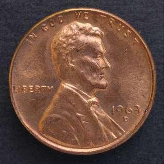 [錯體]1963-D版 美國林肯一仙美金 硬幣一枚(01)