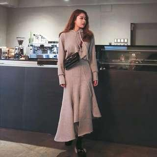韓版休閒薄絨不規則裙套裝