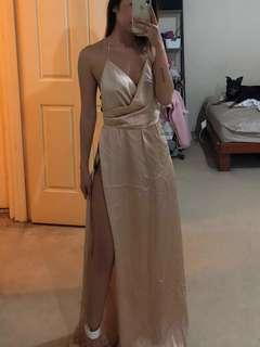 Beige Maxi Formal Gown Dress
