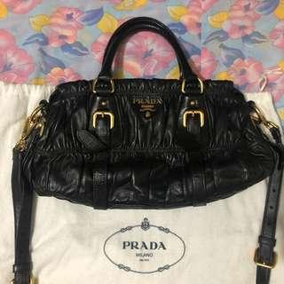 Authentic Prada tessuto nappa leather gaufre bag