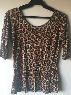 Leopard Print Low Back 3/4 Sleeves Top (M)