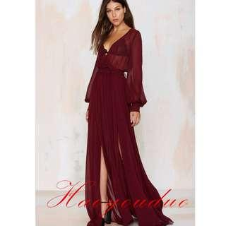Maroon Robe Dress