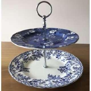 Johnson Brothers two tier cake stand
