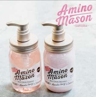 Amino Mason 櫻花限定版 無矽洗髮護髮套裝
