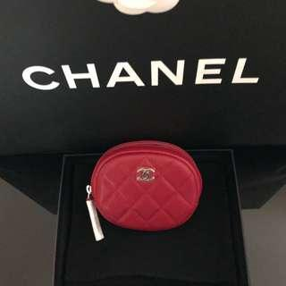 Chanel red caviar quilted round zippy coin purse 香奈兒紅色牛皮菱格紋圓形零錢卡包