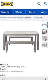 Ikea Outdoor Dining Table Plus Two Benches And Cover