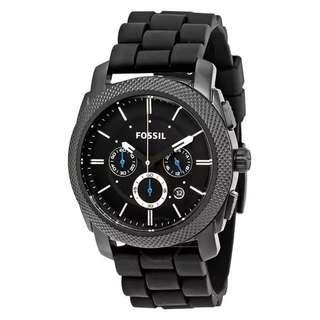 Fossil  Machine Chronograph Black Dial Black Silicone Men's Watch