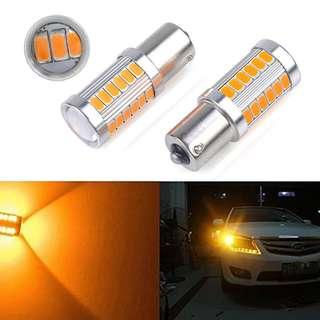 1156 33 SMD Super Bright Amber Yellow LED for Signal, Reverse & DRL on Cars and Bikes