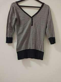 Strip blouse 3 / 4 rajut hitam putih black and white