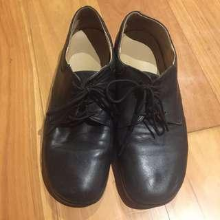 Black Leather Laced-up School Shoes