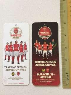 ARSENAL FC training admission pass