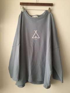 灰藍色 蝴蝶袖 衛衣 sweater