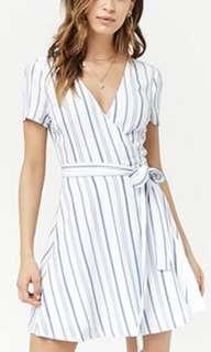 Forever21 blue stripes wrap dress