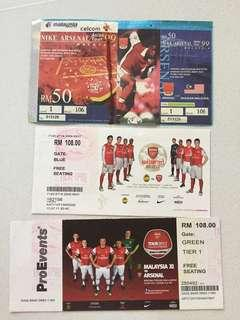 ARSENAL v Malaysia match tickets (used)