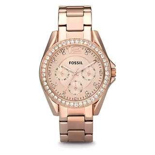 Fossil Ladies' Riley Multifunction Rose-Tone Stainless Steel Band Watch