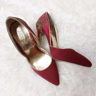 ALDO Gold Embroidered Red Satin Stilettos