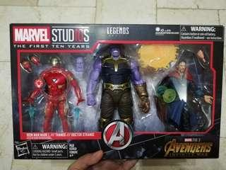 Marvel Legends 10th year Iron Man, Thanos, Dr. Strange 3-pack