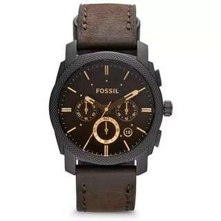 Fossil Men's Machine Mid-Size Chronograph Brown Leather Strap Watch